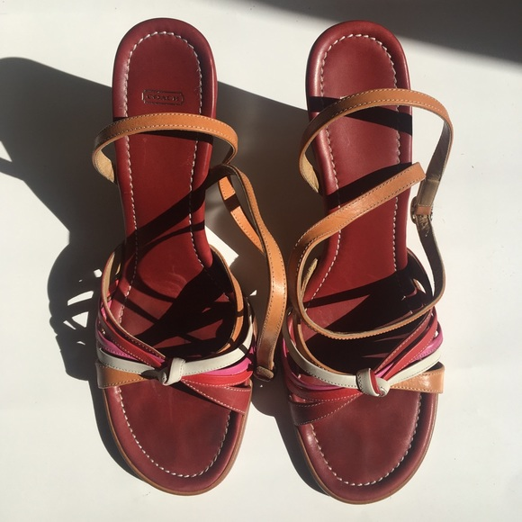 154fd7a2a Coach Shoes - COACH Red Multi Wedge Sandal Ankle Strap 9